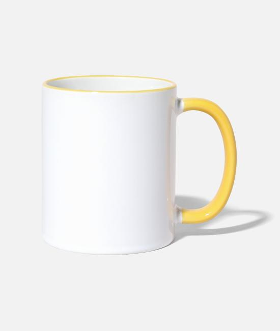 Tent Mugs & Drinkware - Official camping site for beer testers - Two-Tone Mug white/yellow
