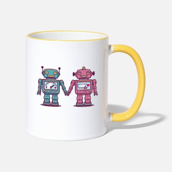 First Day Of School Mugs & Drinkware - Loving Robots - Two-Tone Mug white/yellow