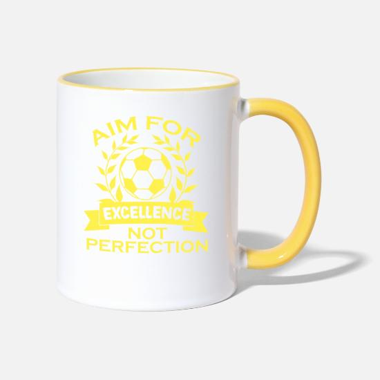 College Mugs & Drinkware - Empowerment Excellence Tshirt Design Aim for - Two-Tone Mug white/yellow