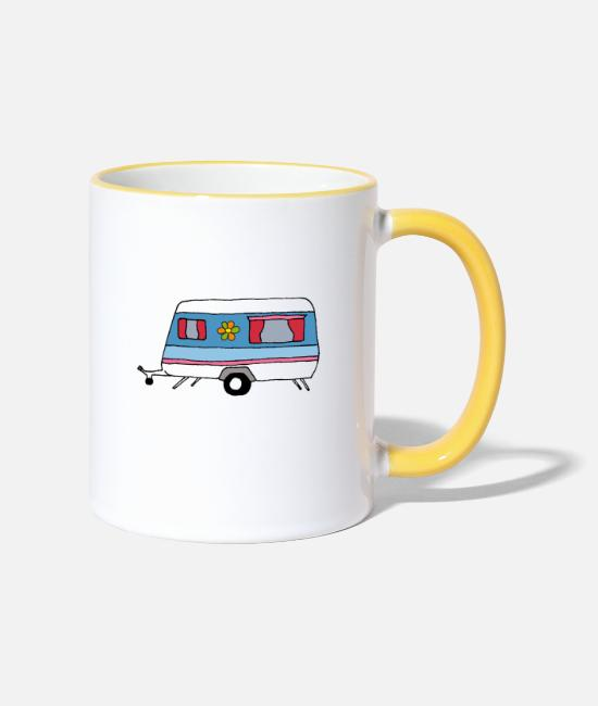 Camper Mugs & Drinkware - Vintage Caravan blue - Two-Tone Mug white/yellow