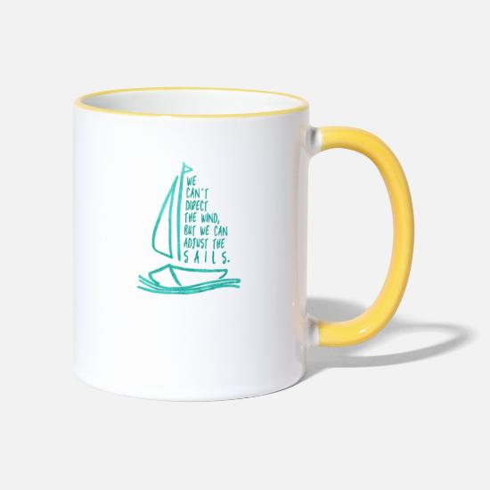Sailboat Mugs & Drinkware - sailing, sailing - Two-Tone Mug white/yellow
