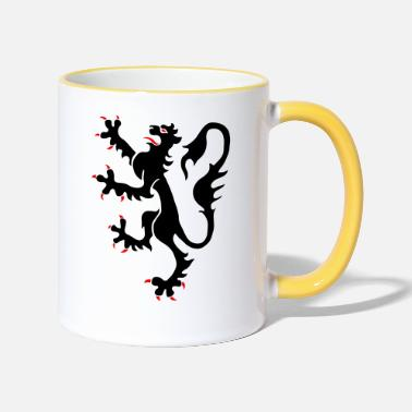 Middle Ages Lion, Medieval, Middle Ages, Löwe, Mittelalter, - Tasse zweifarbig