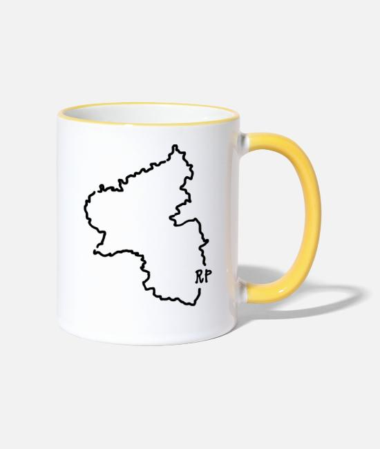 Federal State Mugs & Drinkware - Rheinland-Pfalz - Two-Tone Mug white/yellow