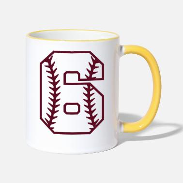 Number Baseball number softball number 6 gift cool - Two-Tone Mug