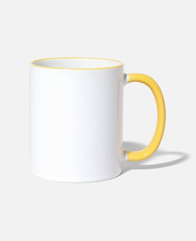 Hipster Mugs & Drinkware - Yuuck! - Man with Beard - Two-Tone Mug white/yellow