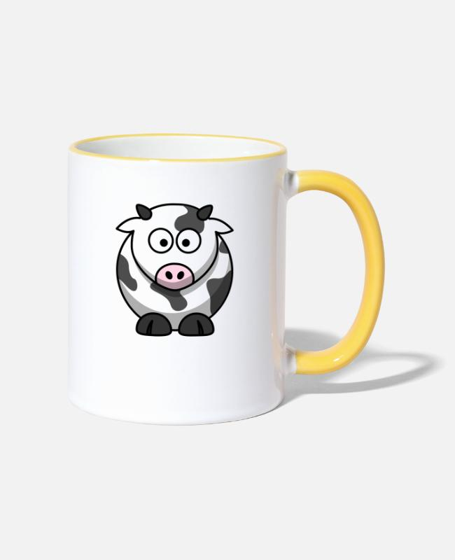 Animal Mugs & Drinkware - Sweet cow motif - Two-Tone Mug white/yellow