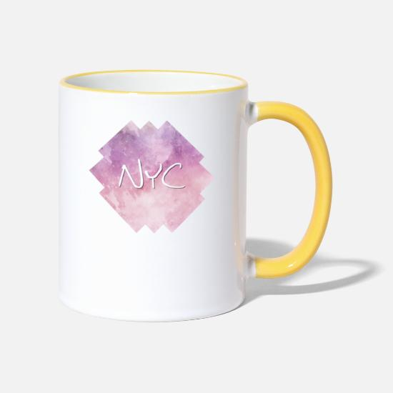 Ville Mugs et récipients - NYC - New York City - Mug bicolore blanc/jaune