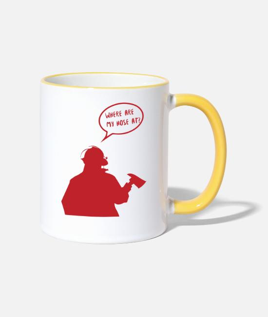 Fire Department Mugs & Drinkware - Fire brigade: Where are my hose at? - Two-Tone Mug white/yellow