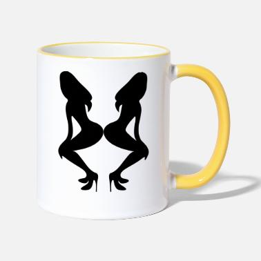 Long Underwear ۞»♥Sexy Twin women on Killer Stilettos♥«۞ - Two-Tone Mug