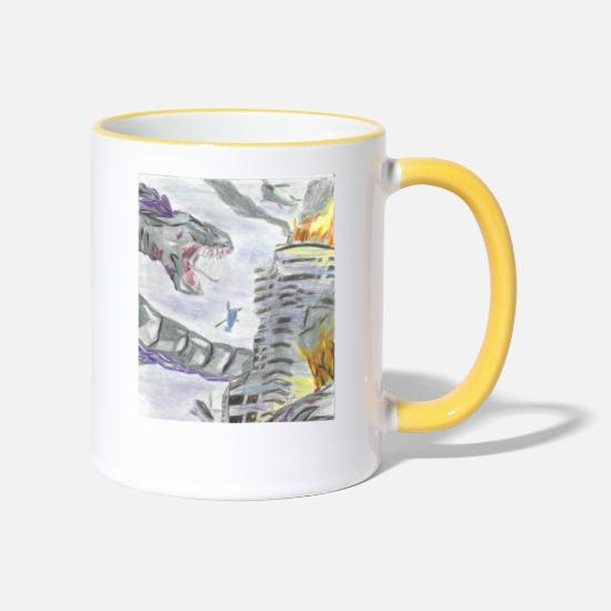 Rattlesnake Mugs & Drinkware - Giant snake - Two-Tone Mug white/yellow