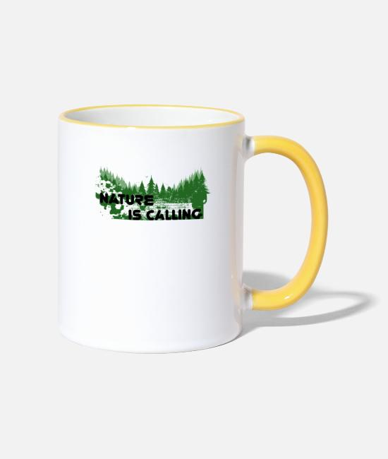 Bless You Mugs & Drinkware - Nature conservation environmental protection mother nature tree - Two-Tone Mug white/yellow