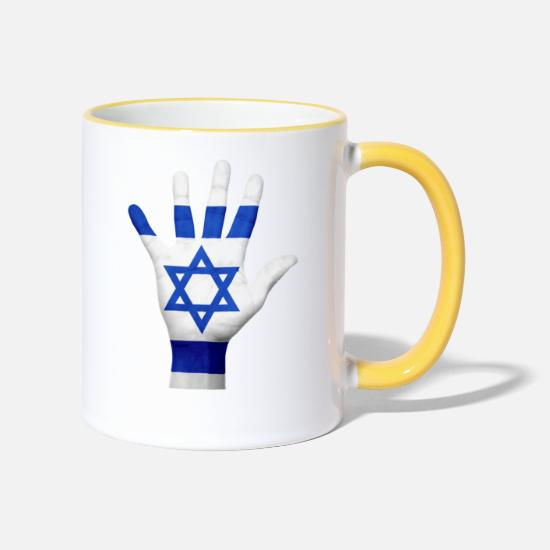 Star Of David Mugs & Drinkware - ISRAEL JERUSALEM JEWISH JEWISH T-SHIRT - Two-Tone Mug white/yellow