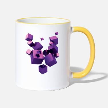Floating cubes - Two-Tone Mug