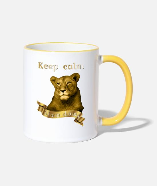 Gold Mugs & Drinkware - Keep calm Slow Down Gold Animal Collection - Two-Tone Mug white/yellow