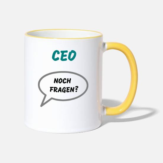 Ceo Mugs & Drinkware - CEO Any questions? - Two-Tone Mug white/yellow