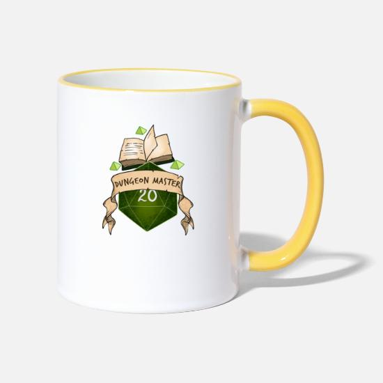 Dungeons And Dragons Mugs & Drinkware - Dungeon Master Dice Dungeon Dragons RPG magic - Two-Tone Mug white/yellow