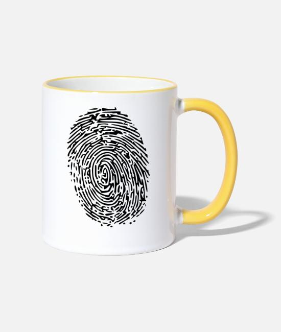 Fingerprint Mugs & Drinkware - fingerprint - Two-Tone Mug white/yellow
