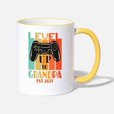 Gamer Grandad promoted to grandpa gamer est 2021momannouncefment - Two-Tone Mug