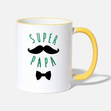 Super Dad Super mustache dad - Two-Tone Mug