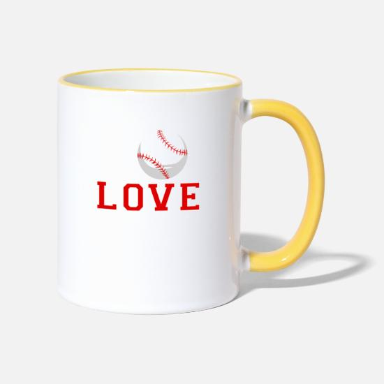 Catcher Mugs & Drinkware - I Love Baseball - Two-Tone Mug white/yellow