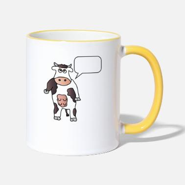 Cow Cow + wish text Your text Cows Dairy farmers - Two-Tone Mug