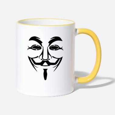 Anonymous Vendetta Maske - Guy Fawkes (Anonymous) - Tasse zweifarbig