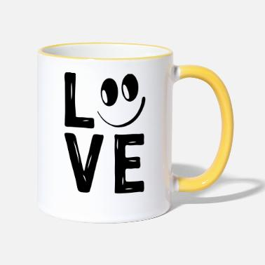 Love With Heart Love Smile Love Hearts Hearts Laugh Happy - Two-Tone Mug