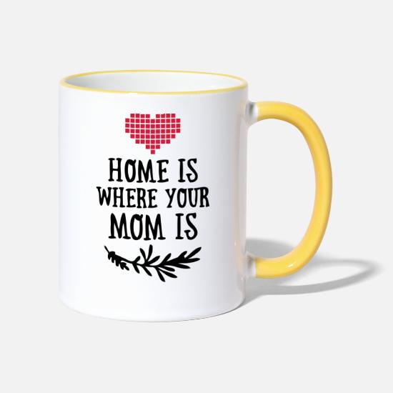 Home Muggar & tillbehör - Home is where your Mom is - Mother's Day - Kontrastmugg vit/gul