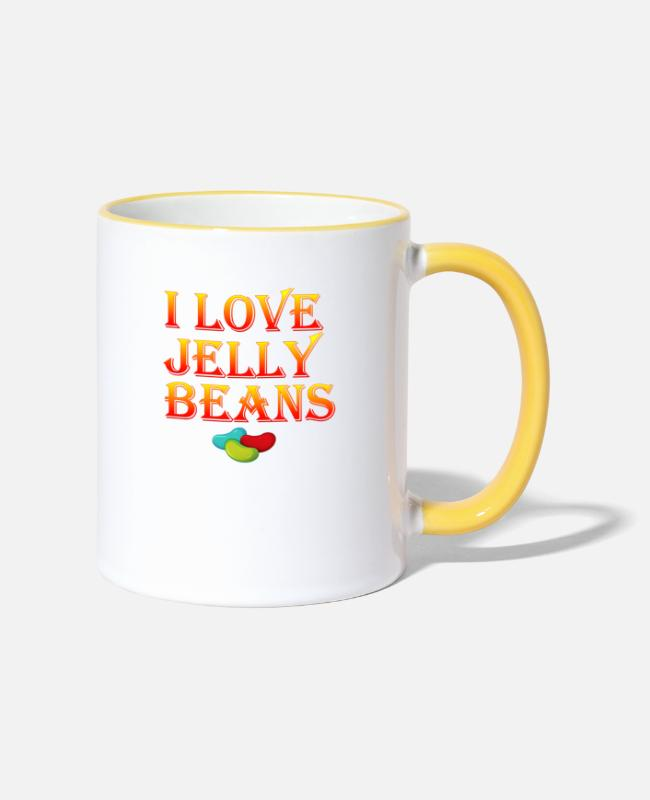 Red Mugs & Drinkware - I LOVE JELLY BEANS Beans food - Two-Tone Mug white/yellow