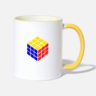 Rubik blue yellow red rubik's cube print - Two-Tone Mug