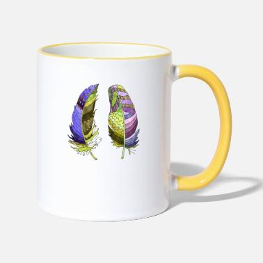 Feather Colorful feathers - Two-Tone Mug