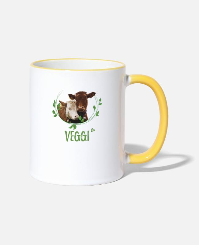 Animal Welfare Mugs & Drinkware - Veggi vegetarian diet sweet cows nature conservation - Two-Tone Mug white/yellow