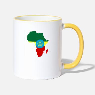 african_flag_map_of_ethiopia - Two-Tone Mug