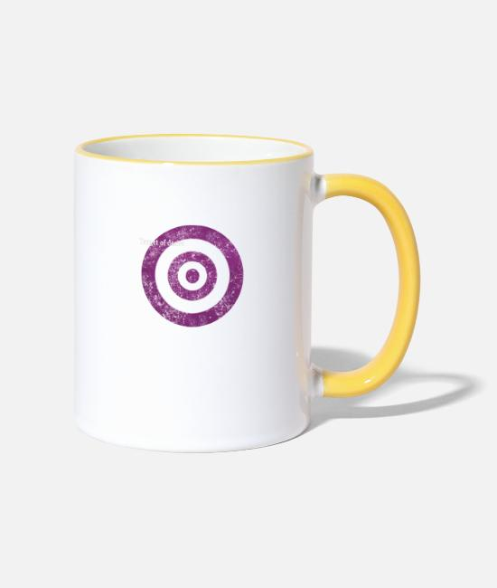 Graphic Art Mugs & Drinkware - target_of_desire_violet - Two-Tone Mug white/yellow