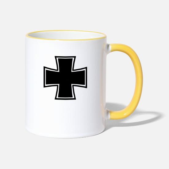 Army Mugs & Drinkware - Iron Cross - Two-Tone Mug white/yellow