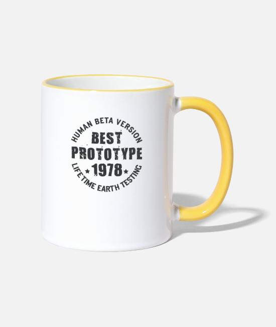 Birth Year Mugs & Drinkware - 1978 - The year of birth of legendary prototypes - Two-Tone Mug white/yellow