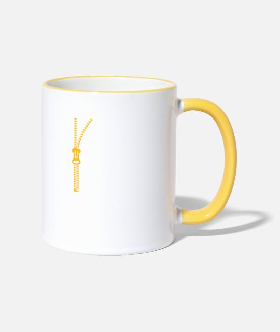 Wit Mugs & Drinkware - You Do Not Like My Clothes? Undress Me! - Two-Tone Mug white/yellow