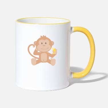 Lapsi Monkey with banana - Two-Tone Mug