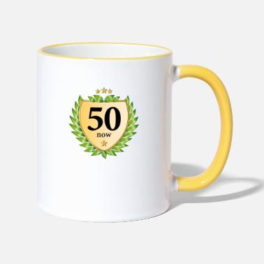 50th birthday crest laurel wreath golden stars - Two-Tone Mug