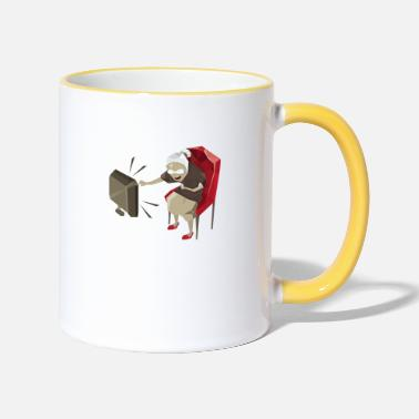 Watch Tv Grandma watching TV - Two-Tone Mug