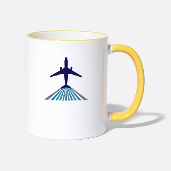 Motor Mugs & Drinkware - aircraft takes off - Two-Tone Mug white/yellow