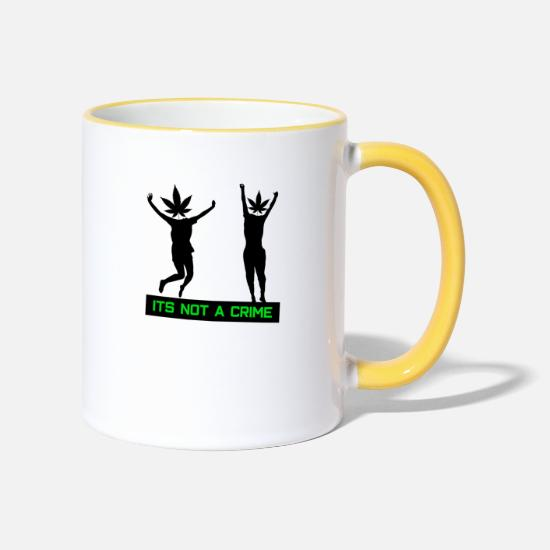 Rasta Mugs & Drinkware - Weed cannabis grass weevils - its not a crime funny - Two-Tone Mug white/yellow