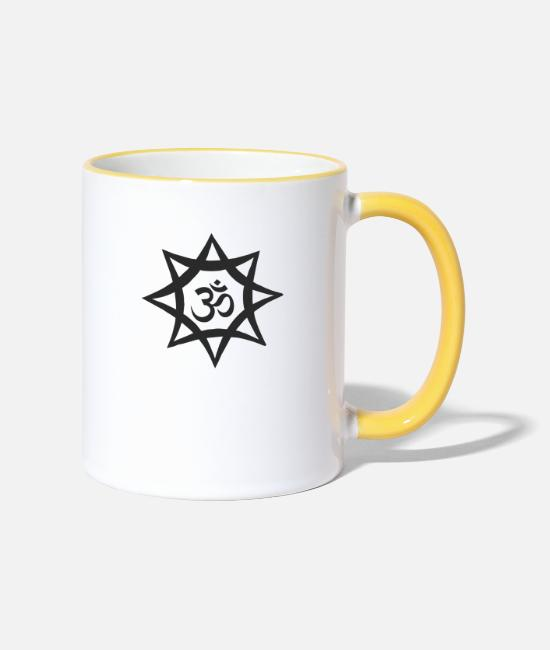 Starry Sky Mugs & Drinkware - goa asterisk - Two-Tone Mug white/yellow