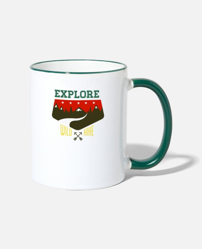 Camper Mugs & Drinkware - outdoor camp - Two-Tone Mug white/dark green