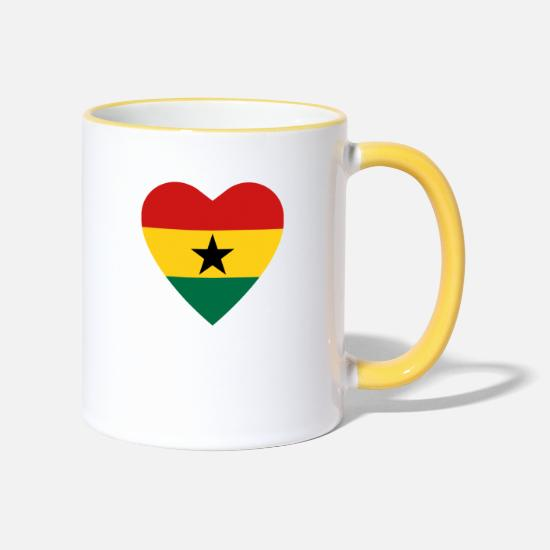 Heart Mugs & Drinkware - Ghana Flag Heart 1440px - Two-Tone Mug white/yellow