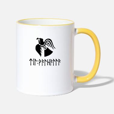 Til Valhalla in runes - Two-Tone Mug
