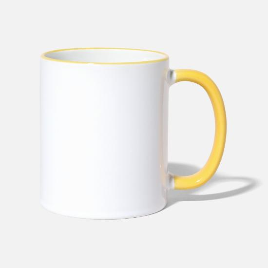 Horse Mugs & Drinkware - Trotting Horse - Two-Tone Mug white/yellow