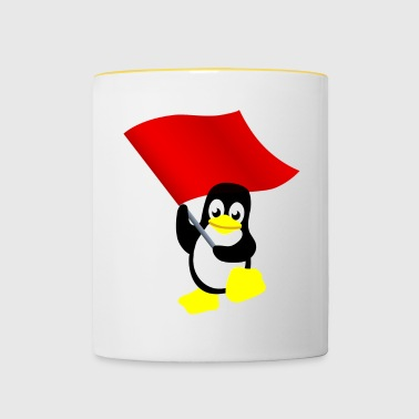 Tux with red flag - Contrasting Mug