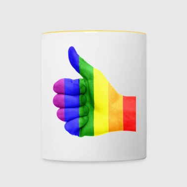 Rainbow LGBT Thumbs Up - Tvåfärgad mugg