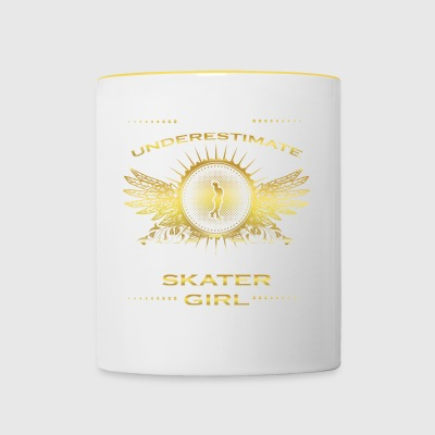 NEVER UNDERESTIMATE GIRL WIFE WOMAN SKATER - Contrasting Mug